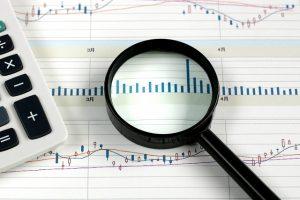 株価と虫メガネ